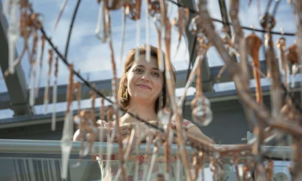 Artist hits the glass ceiling with upcycled chandelier