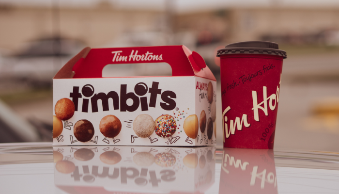 Tim Hortons Timbits donuts and a coffee
