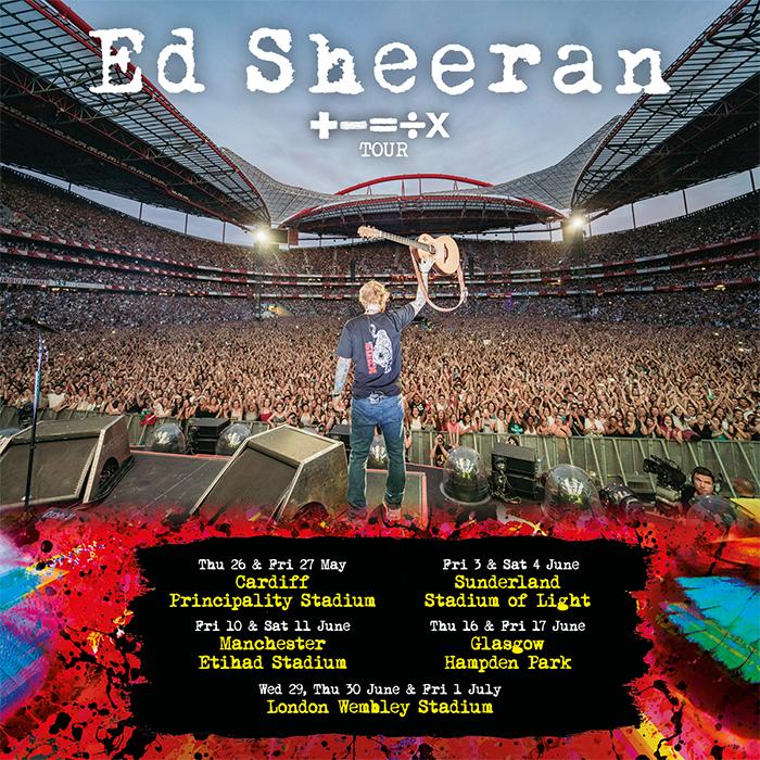 Ed Sheeran comes to Sunderland's Stadium Of Light in June 2022
